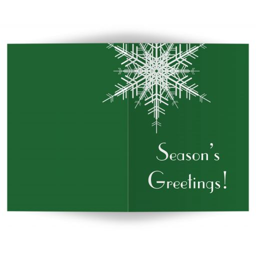 A large snowflake decorates this non-denominational, green holiday card.