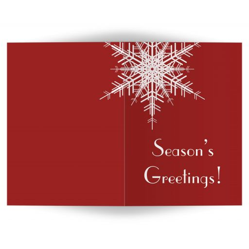 A large snowflake decorates this non-denominational, red holiday card.