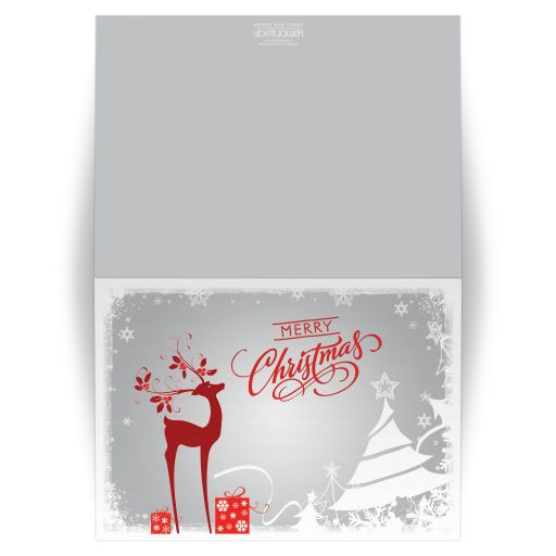 "​Best personalized gray, red and white ""Merry Christmas"" photo template Christmas or Holiday card with deer, trees, snowflakes, stars, and holly and berries."