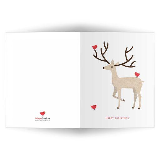 Elegant deer with red birds merry christmas card