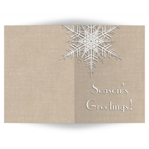 A large snowflake decorates this non-denominational, faux burlap holiday card.