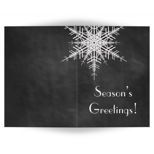 A large snowflake decorates this non-denominational, faux chalkboard holiday card.