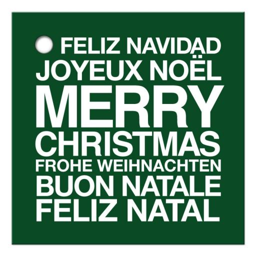 Holiday Gift Tag - Green Multilingual Merry Christmas