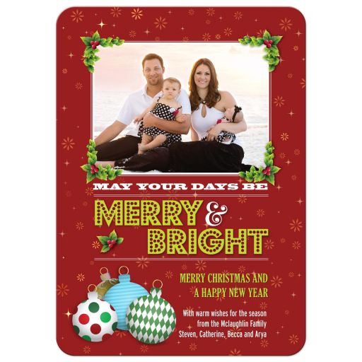 Christmas Photo Card - Red Holiday Ornaments and Holly Merry and Bright