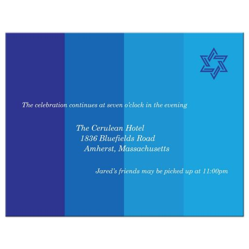 Bar Mitzvah Reception Insert Card - Tonal Blue Star of David