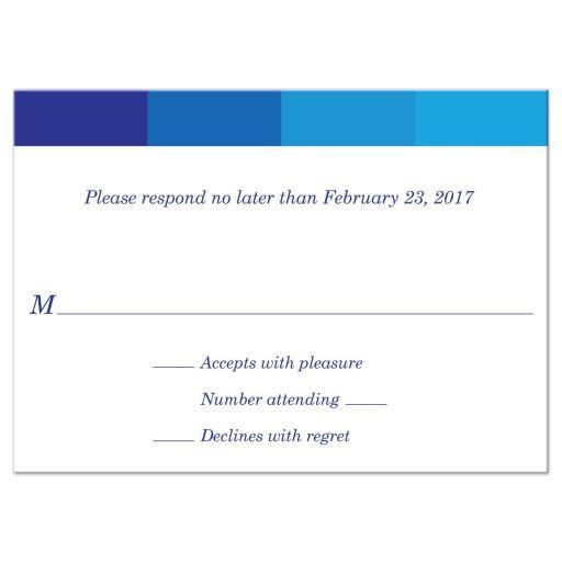 Bar Mitzvah Reply RSVP Card - Tonal Blue Simple