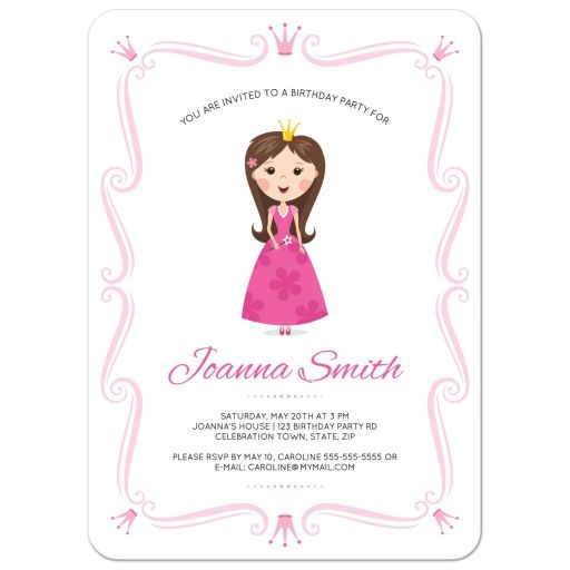 Pink princess birthday party invite for girls with ornate frame