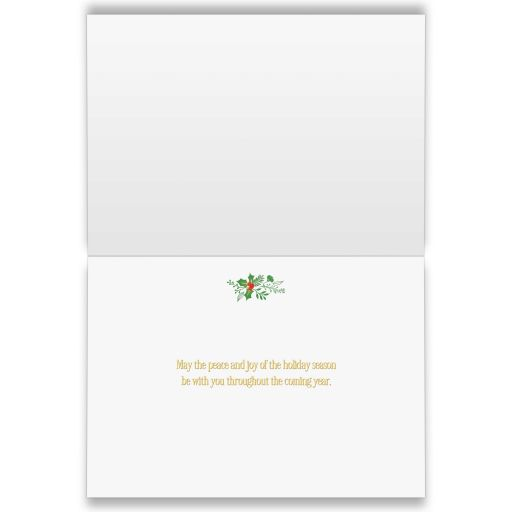 Great green and gold season's greetings christmas card with tree of lights, stars and ribbons.