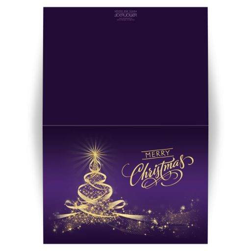 ​Best purple and gold merry christmas card with tree of lights, stars and ribbons.