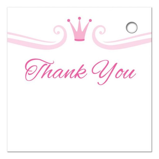 Pink crown and border, back of princess favor tag