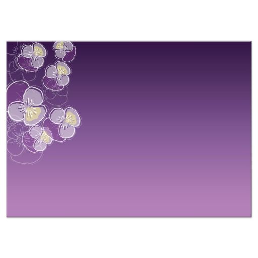 Bat Mitzvah Reply RSVP Card - Purple Ombre Floral Falling Pansy