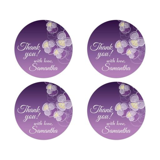 Thank You Round Stickers - Purple Ombre Floral Falling Pansy