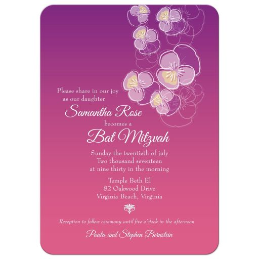 Bat Mitzvah Invitation - Purple to Pink Ombre Floral Falling Pansy