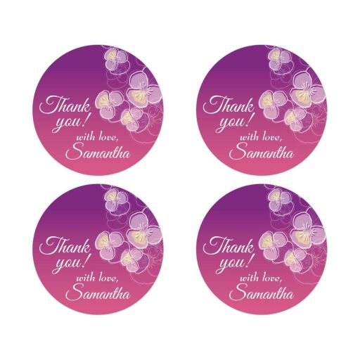 Thank You Round Stickers - Purple to Pink Ombre Floral Falling Pansy