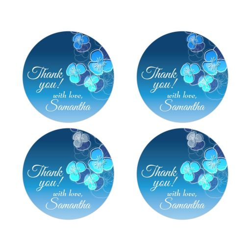 Thank You Round Stickers - Blue Ombre Floral Falling Pansy