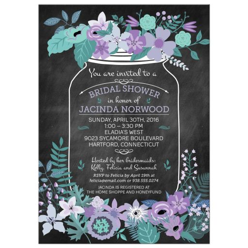 Chalkboard Mason Jar Purple And Green Flowers Bridal