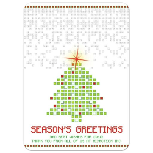 ​Unique digital pixels pixelated 2D gaming or computer look Christmas tree business holiday card