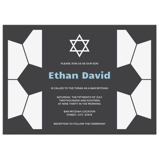 Bold Gray White Blue Modern Soccer Bar Mitzvah Invitation