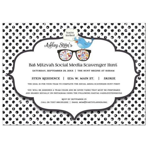 Glitter Polka Dot Bat Mitzvah Social Media Scavenger Hunt Invitation