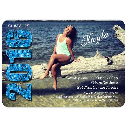 Modern Blue Glittery Typography Photo Graduation Invitation