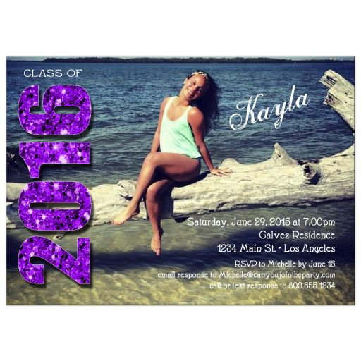 Modern Purple Glittery Typography Photo Graduation Invitation