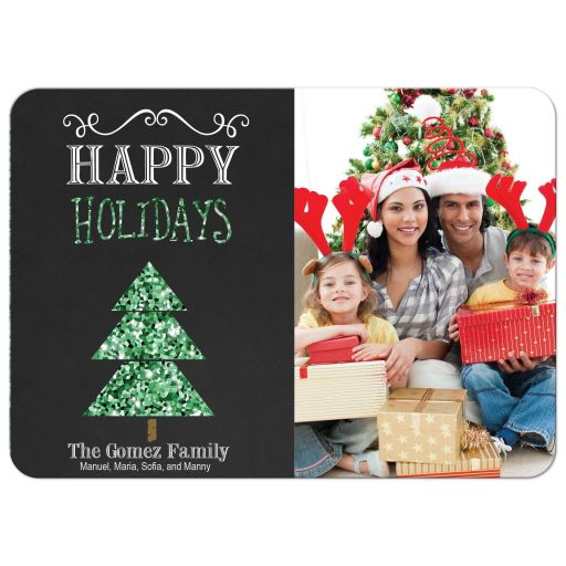 Green Glitter Christmas Tree Happy Holidays Photo Card