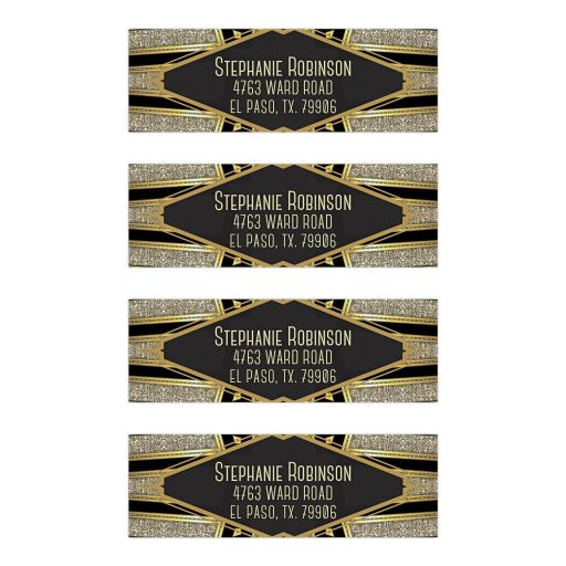 Gold Black Glamour Art Deco Address Labels