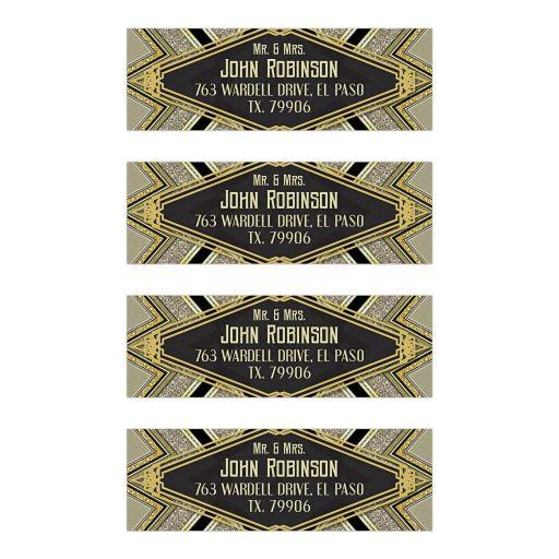 Gold Glamour Art Deco Address Labels