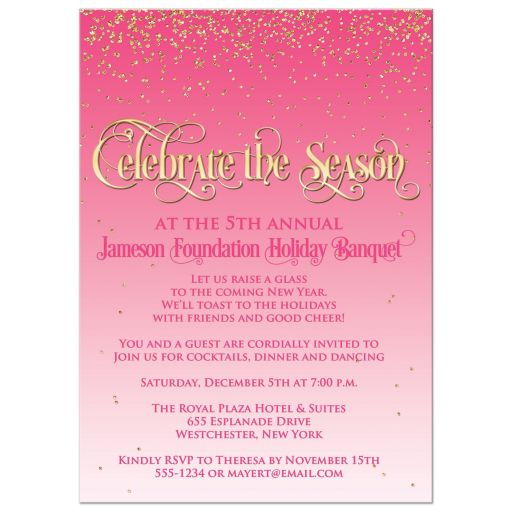 "​Best pink and white falling gold glitter confetti ""snow"" holiday or Christmas party invitations with vintage gold ""Celebrate the Season"" typography."