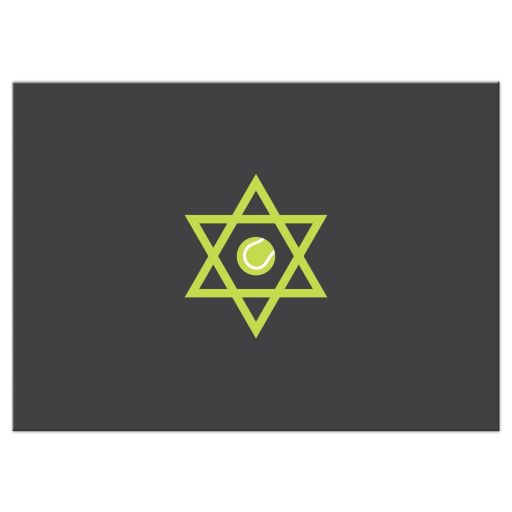 Star of David with tennis ball inside, back of tennis Bar Mitzvah reply card
