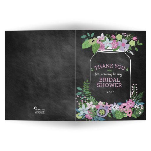 Chalkboard Mason Jar Purple and Pink Flowers Bridal Wedding Shower Thank You Card