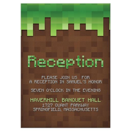Mine Building Pixel Video Game Bar Mitzvah Reception Card