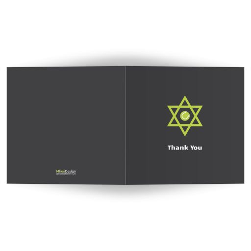 A bold and contemporary tennis Bar Mitzvah thank you card in green and dark gray