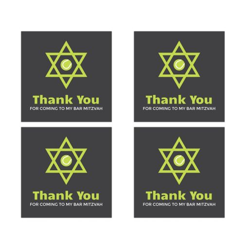 Bar Mitzvah favor stickers with Star of David and tennis ball