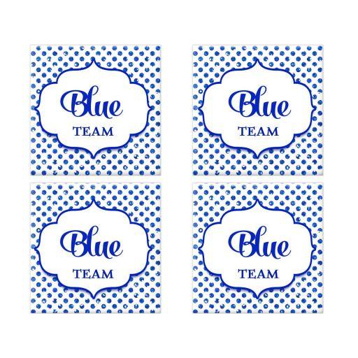 Blue Team Polka Dot Bat Mitzvah Social Media Scavenger Hunt Sticker