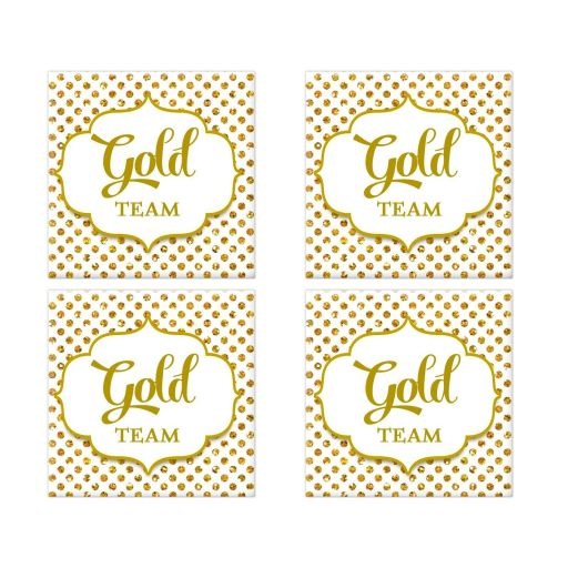Gold Team Polka Dot Bat Mitzvah Social Media Scavenger Hunt Sticker