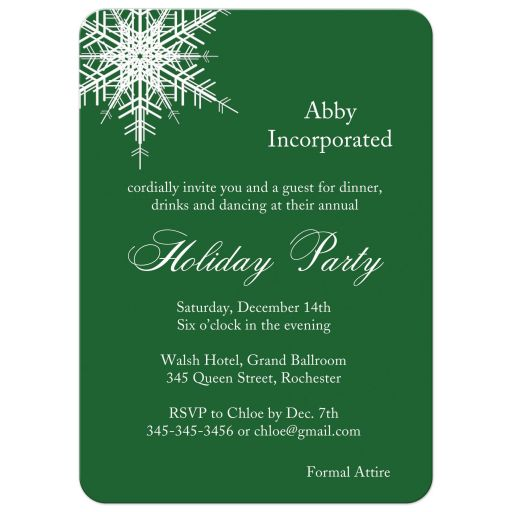 corporate holiday party invitation with a  large offset snowflake on a green background.