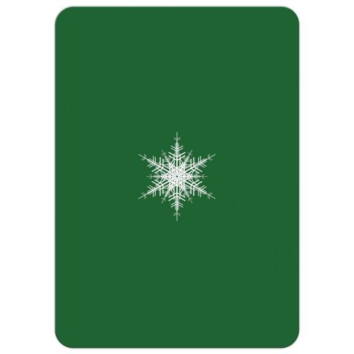 corporate holiday party invitation with large offset snowflake on green