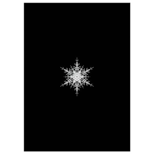 corporate holiday party invitation with large offset snowflake on a black background.