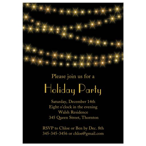 Gold Twinkle Lights on black Holiday Party Invitation