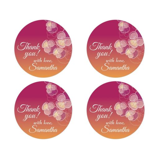 Pink to Gold Ombre Floral Falling Pansy Thank You Round Stickers