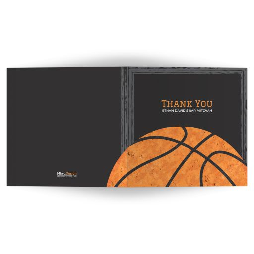 Urban grunge basketball Bar Mitzvah thank you card