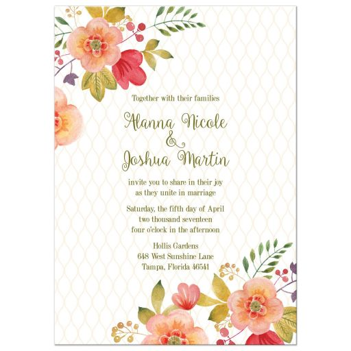 Olive green and pink watercolor flowers wedding invitation