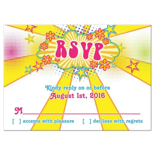 70's or 1970's disco flower power Bat Mitzvah RSVP reply card