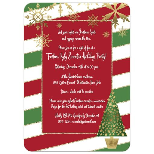 ​Best red, white and green candy cane striped Christmas or holiday party invitation with gold snowflakes, an Xmas tree and gold glitter.
