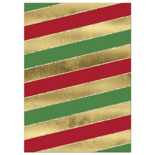 Great red, white and green candy cane striped Christmas or holiday party invite with gold snowflakes, an Xmas tree and gold glitter.