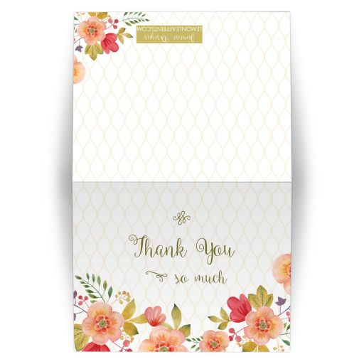 Olive green and pink watercolor floral wedding thank you card