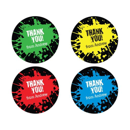 Paintball Party Bar Mitzvah Thank You Round Favor Stickers