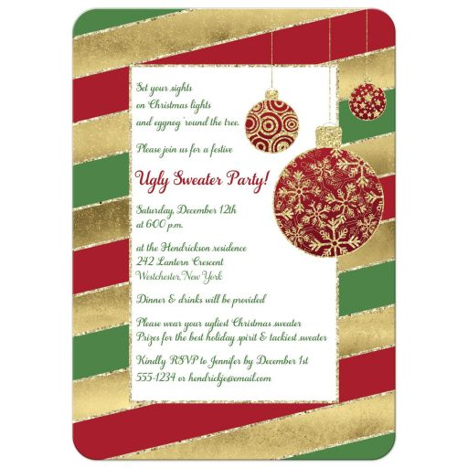 Best red, green, gold and white candy cane striped Christmas or holiday party invitation with red and gold glitter Xmas tree ornaments.