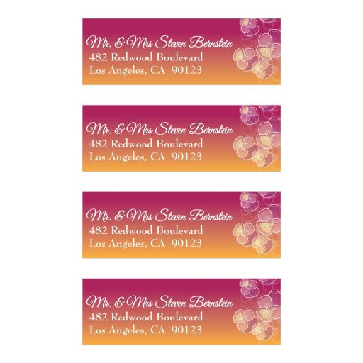 Pink to Gold Ombre Floral Falling Pansy Mailing Labels